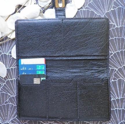 Genuine ostrich patchwork black handcrafted womens skinny wallet W29