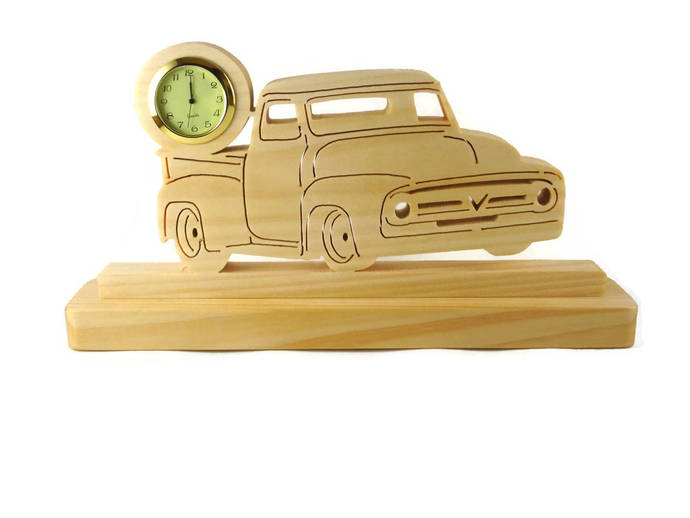 1956 Ford F100 Pickup Truck Desk Or Shelf Clock Handmade From Maple Wood By