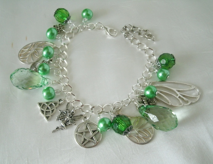 Fairy Pentacle Charm Bracelet, handmade jewelry wiccan pagan wicca goddess witch