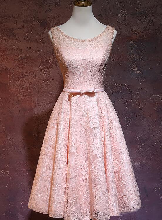 Pink Lace Knee Length Prom Dress, Fashionable Pink Bridesmaid Dress