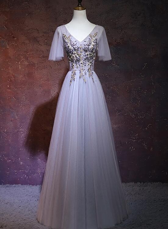 Grey Tulle Long Party Dress, A-line Grey V-neckline Prom Dress
