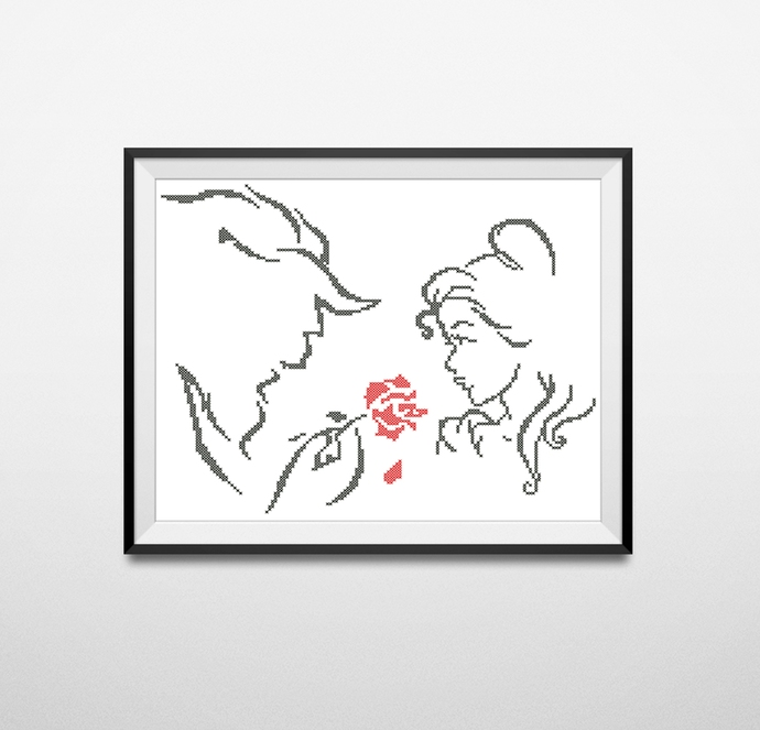 #270 Beauty and the Beast Modern Cross Stitch Pattern, tale as old as time