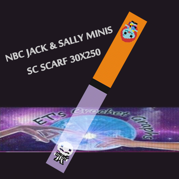 Jack & Sally Mini's - SC Scarf 30x250 includes graph with color block