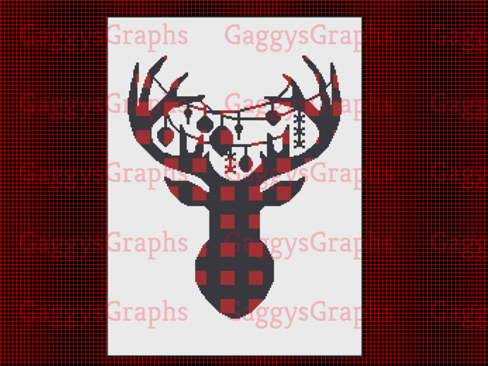 Flannel Ornamental Deer, 180x240, SC Graph, Written Instructions with color