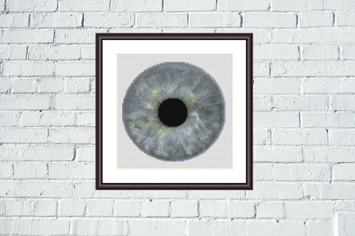 Grey iris cross stitch