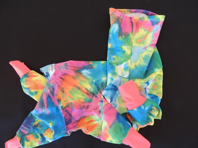 LARGE K9 Sunwear Brite Tie Dye Suit 50 UPF