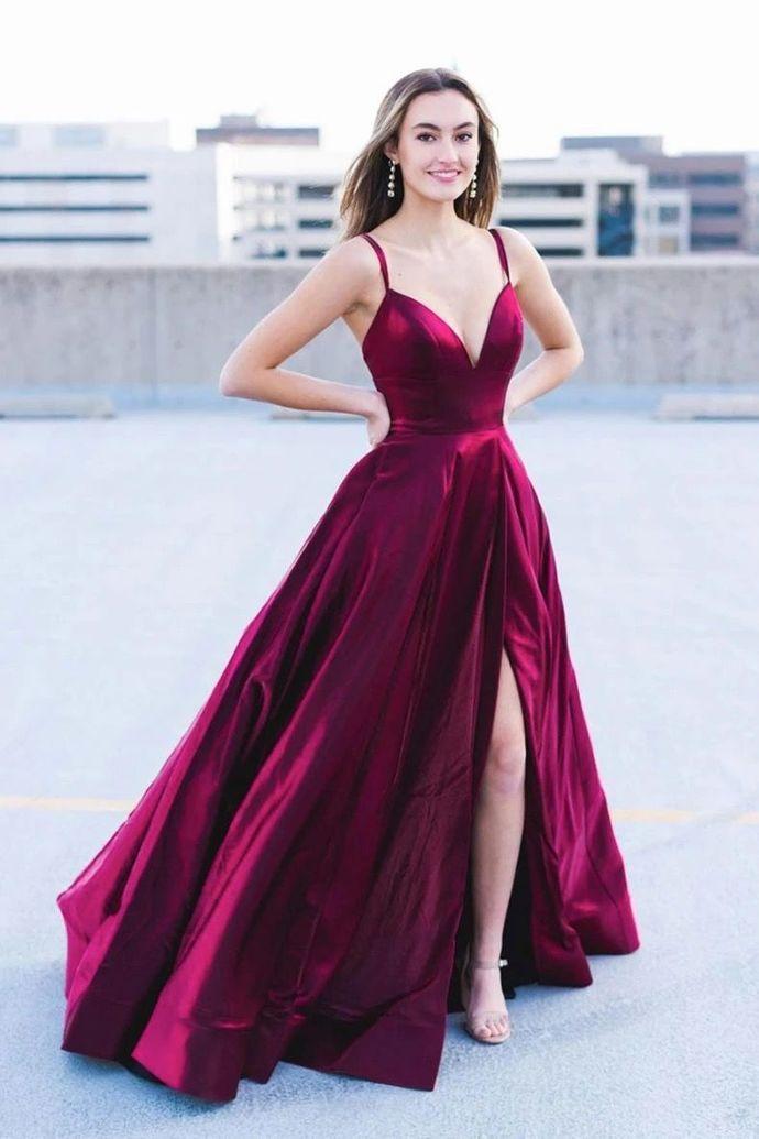 WDG034,Burgundy Satin V Neck Long A Line Slit Prom Dress Evening Dress