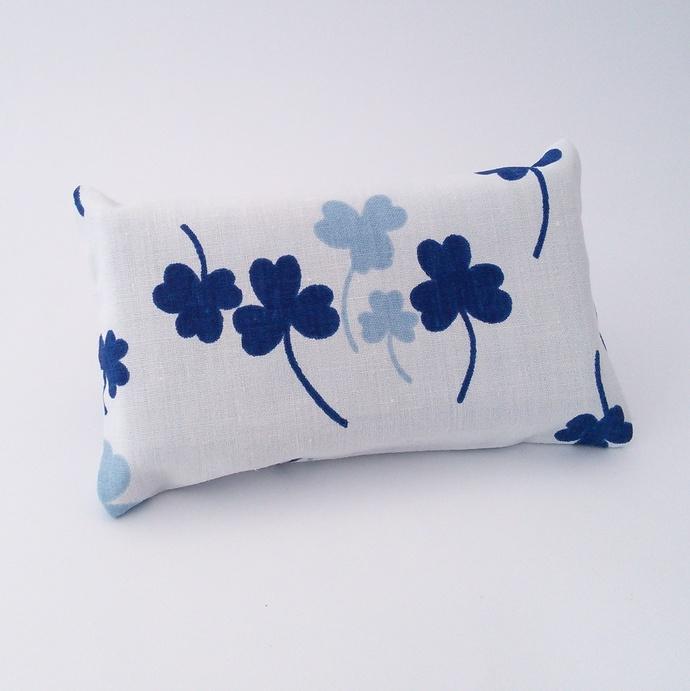 Pocket Tissue Holder - White and Blue Shamrock Upcycled Fabric