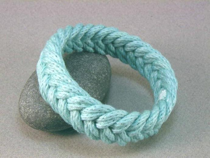 sky blue herringbone weave turks head knot rope bracelet 902 890
