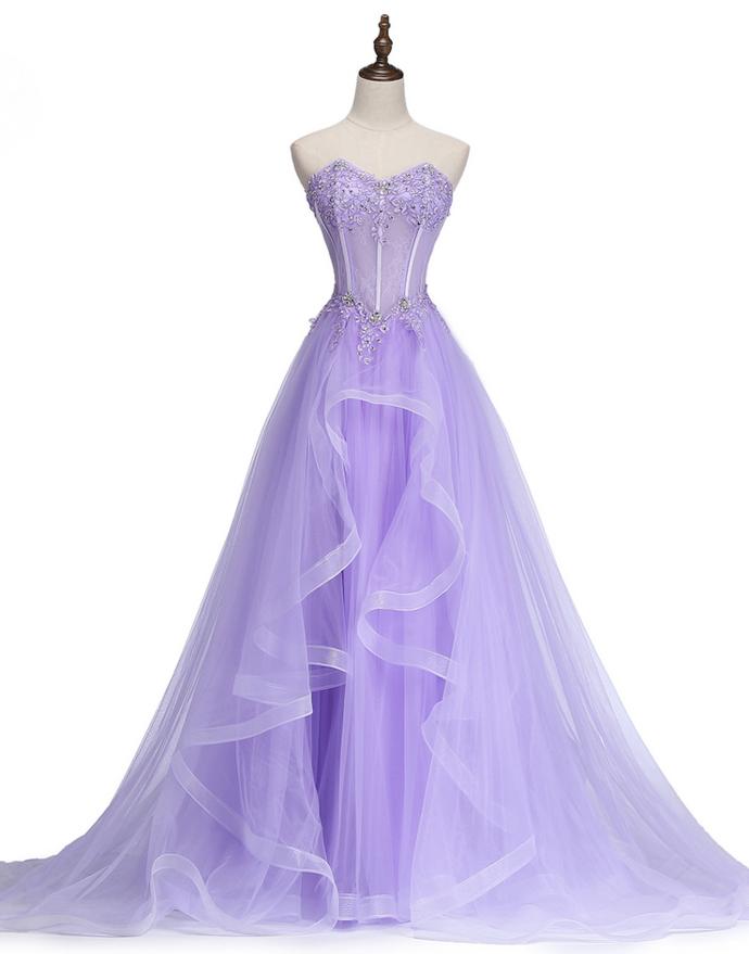 Cute Lavender Long Tulle Sweetheart 16 Dress, Beautiful Prom Dress