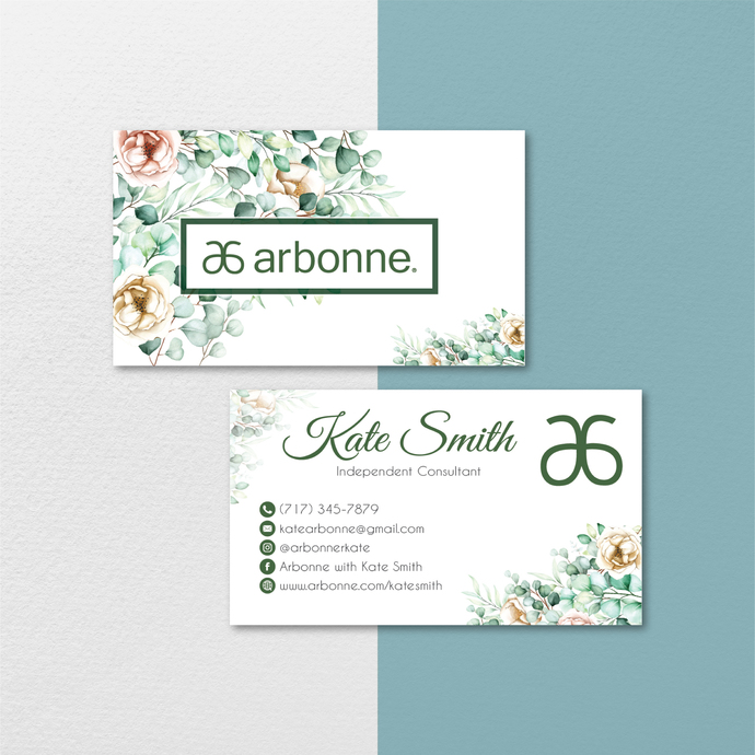 Floral Personalized Arbonne Business Cards, Floral Arbonne Business Card, Custom