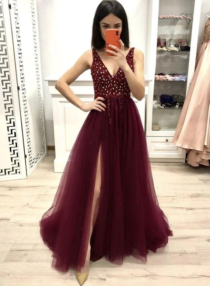 WDG095,Deep Burgundy Tulle Beaded V Neck Long Dress Evening Dress With Slit