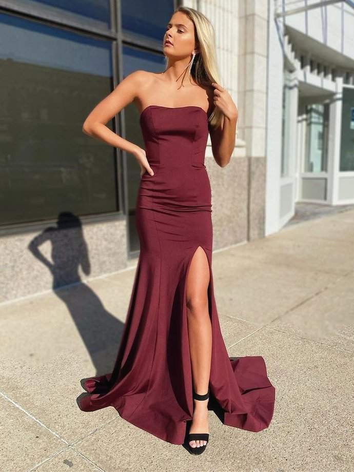 WDG0104,Strapless Long A Line Mermaid Prom Dress Bridesmaid Dress With Slit