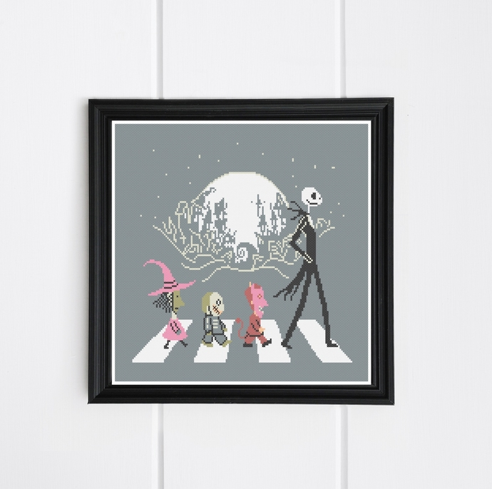 #264 Jack and friends Modern Cross Stitch Pattern, horror Halloween counted