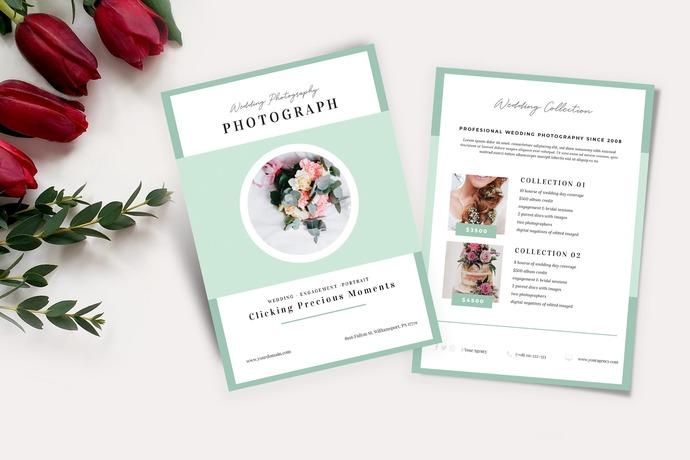 Wedding Price List Flyer, Mint Photography Price List, Photography Price List