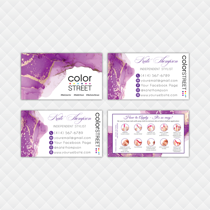 Premium Personalized Color Street Application Cards, Premium Color Street