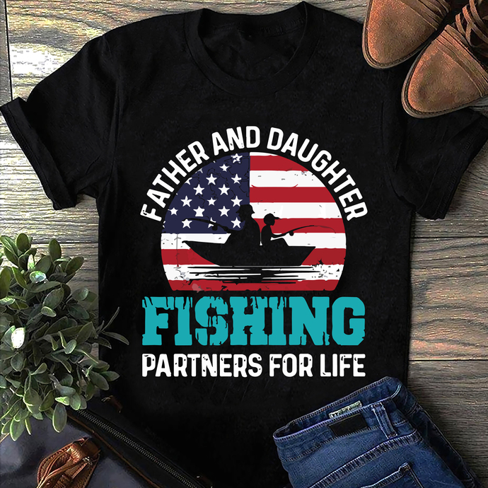 Father and daughter fishing partners for life Digital file SVG, DXF, PNG, EPS