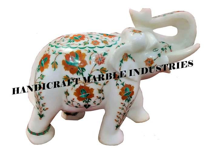 """8"""" Inch White Marble Elephant, White Marble Inlay Elephant, Elephant Figurine,"""