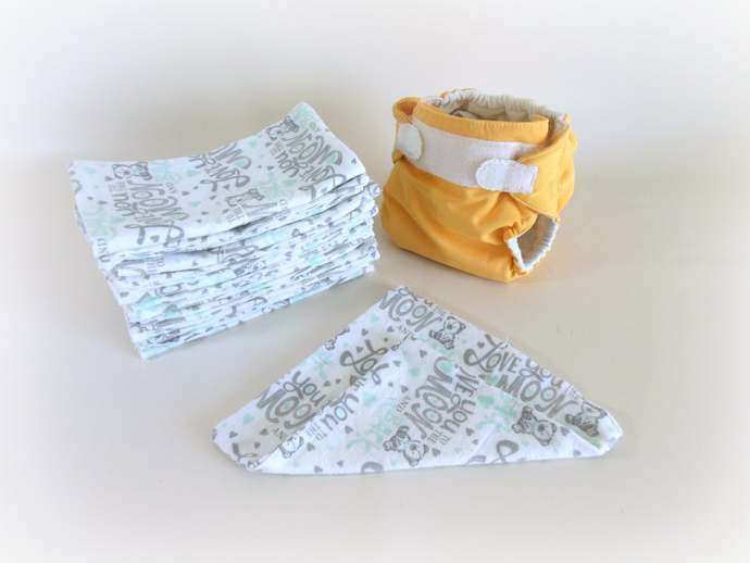 2 Ply Flannel Love You To The Moon Cloth Wipes, Love You To The Moon Washcloths,