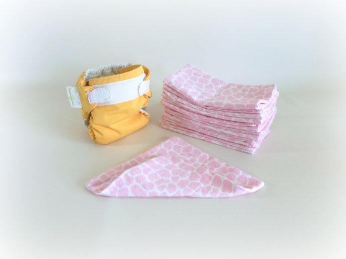 2 Ply Flannel Pink Giraffe Cloth Wipes, Pink Giraffe Washcloths, Pink Giraffe