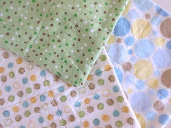 2 Ply Polka Dot Flannel Cloth Wipes, Dot Washcloths, Gender Neutral Burp Cloths,