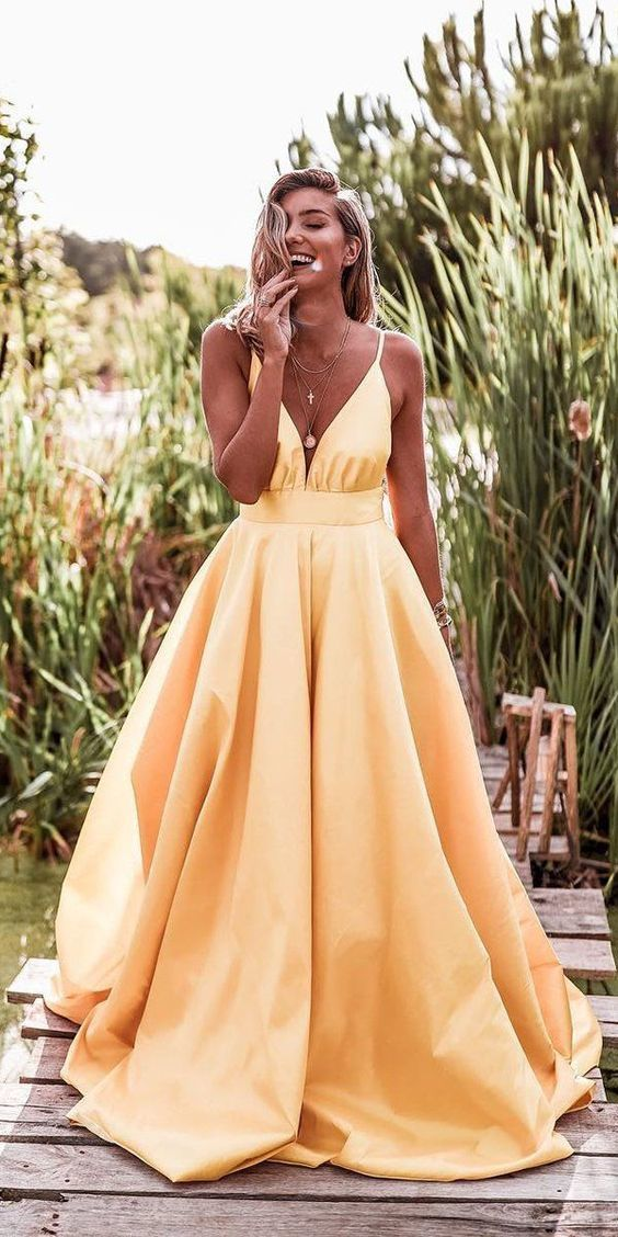 cheap prom dresses long spaghetti strap satin yellow a line prom gown robe de