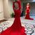 red beaded applique evening dresses long sleeve v neck mermaid modest cheap