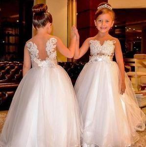 white lace flower girl dresses for weddings applique sleeveless beaded cheap