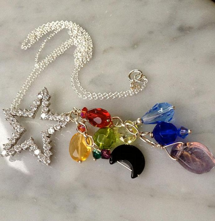 "20"" Sterling Silver Chakra Star Pendant"