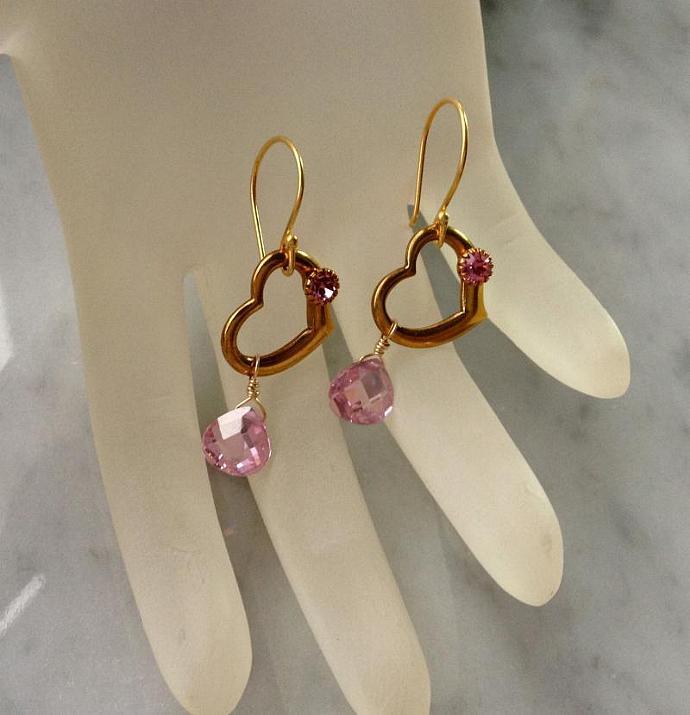 Pink Vintage Filigree Brooch and Heart Earrings set