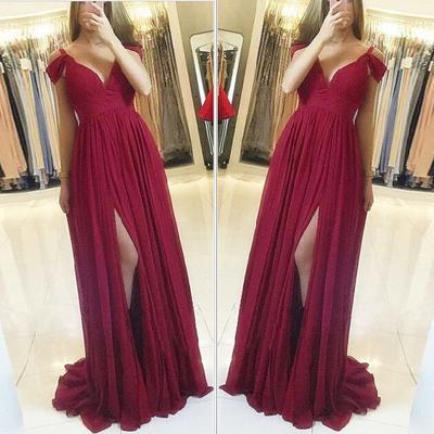 burgundy chiffon prom dresses long off the shoulder simple elegant cheap prom