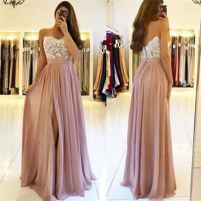 spaghetti strap dusty pink prom dresses long chiffon cheap elegant a line prom