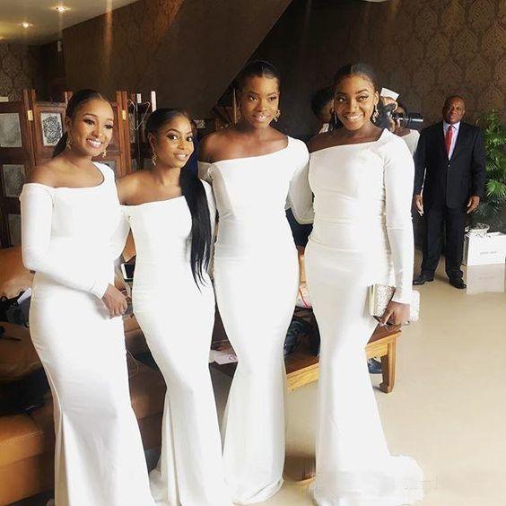 white bridesmaid dresses long one shoulder satin cheap elegant wedding party