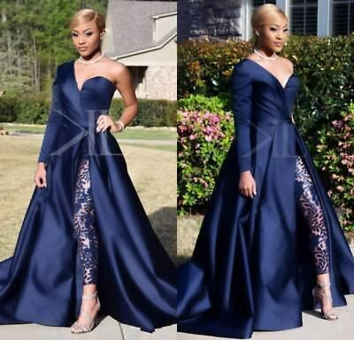 navy blue bridal jumpsuit for women sparkly beaded satin elegant pant suit for