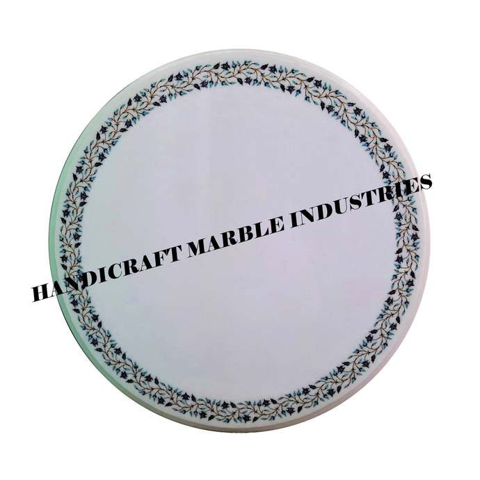 """27"""" X 27"""" Inch White Marble Inlay Table Top, Round Marble Table Top, Round"""