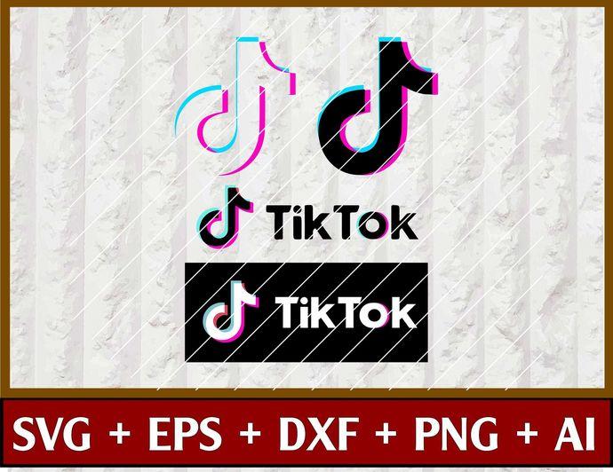 Tiktok Logo Pack Vector Tik Tok Tictok Svg By Svgtrendyshop On