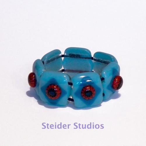 Comfortable Designer Art Glass Bracelet, Blue with 3D Urchins