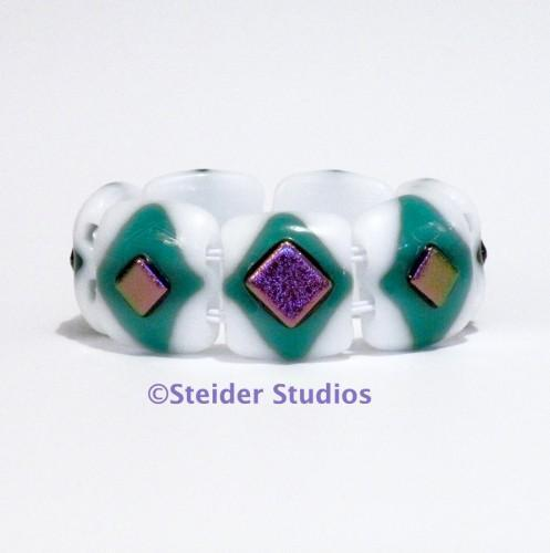 Designer Art Glass Bracelet in Iridescent White and Green with Purple Metallic