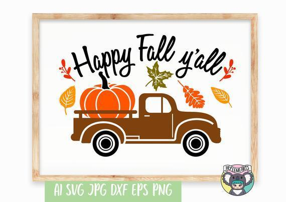 Happy Fall Y All Svg Pumpkin Svg By Customizedsvg On Zibbet