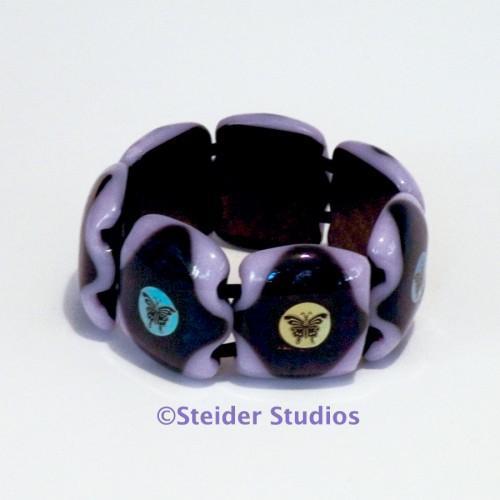 Designer Chunky Art Glass Bracelet, Lavender with MultiColor Butterflies on Dark
