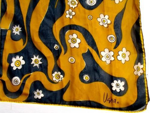 Vera Neumann Gold And Gray With Mod Stylized White Flowers Scarf