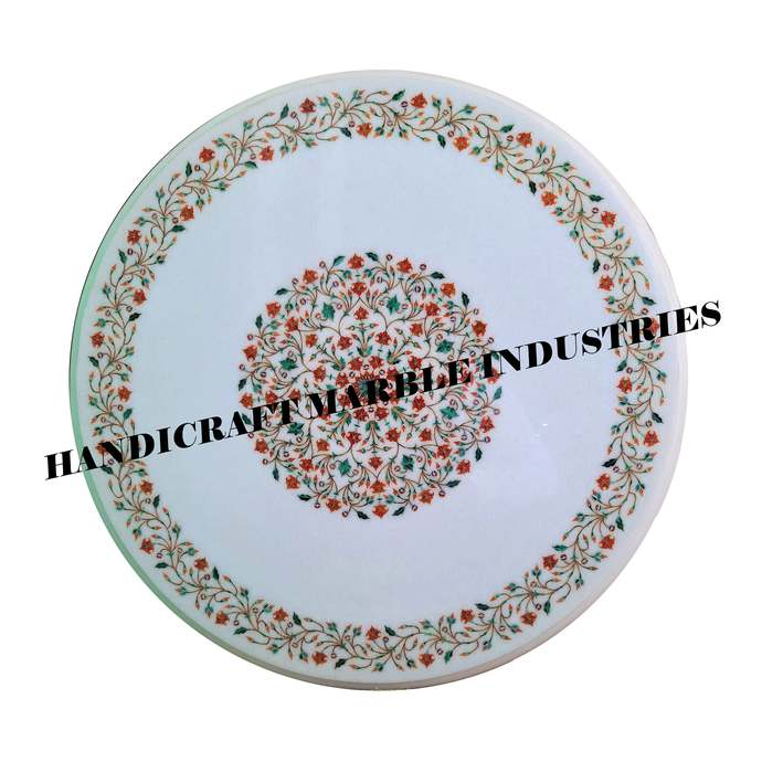 """24"""" Inch White Marble Inlay Table Top, Round Marble Coffee Table, Round Marble"""