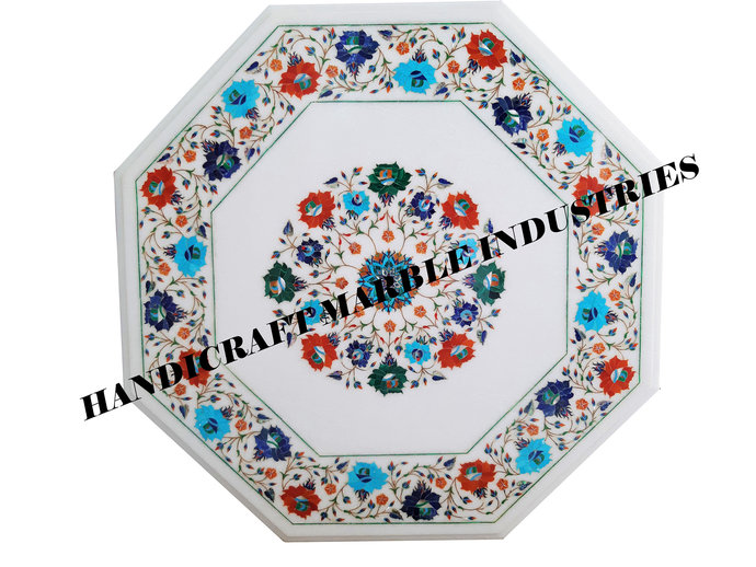 """27"""" X 27"""" Inch White Marble Inlay Table With Stand, Round Marble Table Top,"""