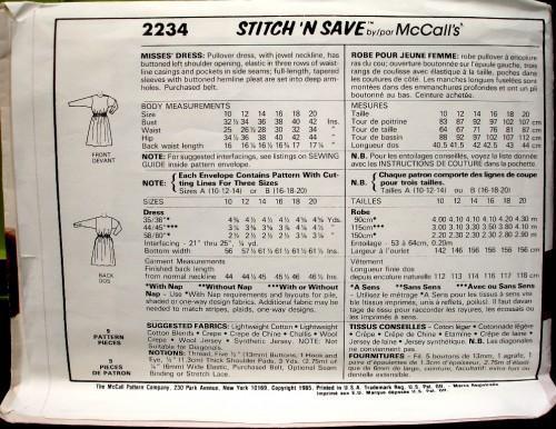Stitch N Save 2234 By McCalls Vintage Pattern