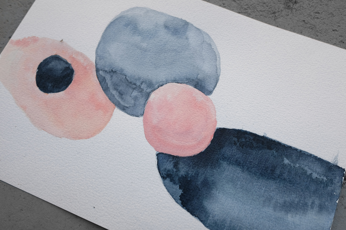 Set of 3 watercolor abstract, original painting blue pink, geometric watercolor