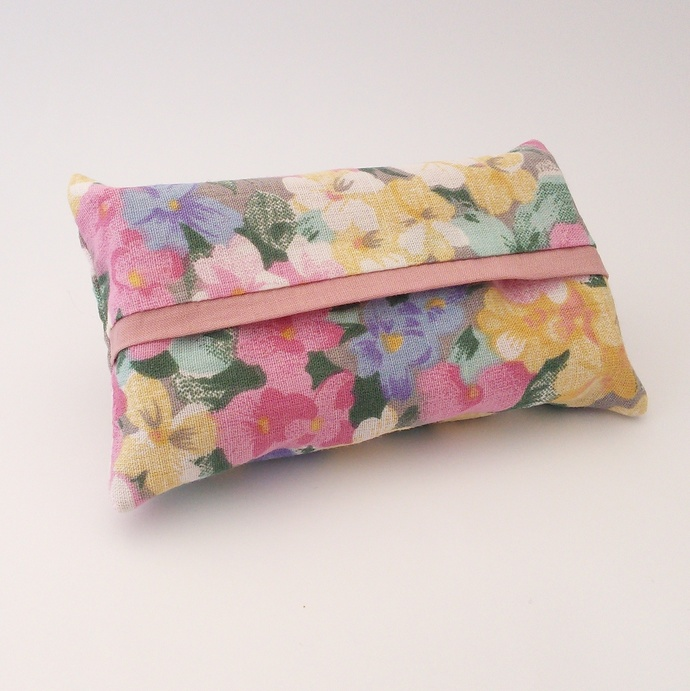 Pocket Tissue Holder - Pretty Floral Upcycled Fabric
