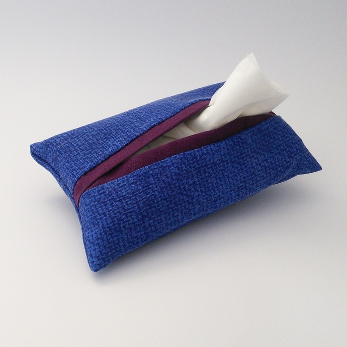 Pocket Tissue Holder - Blue and Purple Upcycled Fabric