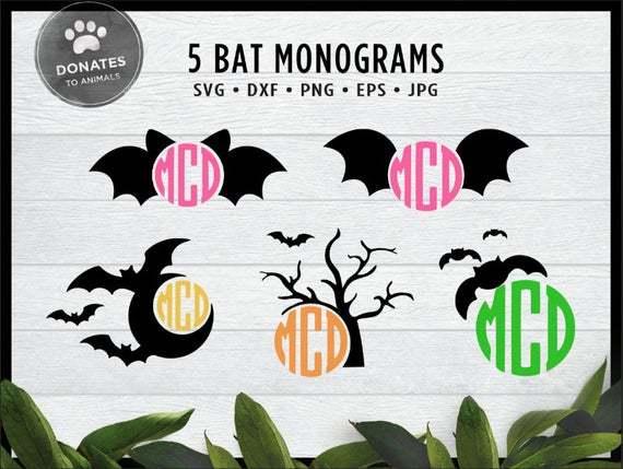 Cute Bat Svg Halloween Monogram Frame Bundle By Owensvgstore On Zibbet
