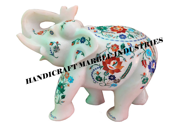 "10"" Marble Elephant, White Marble Inlay Elephant, Multi Color Stone Inlay"