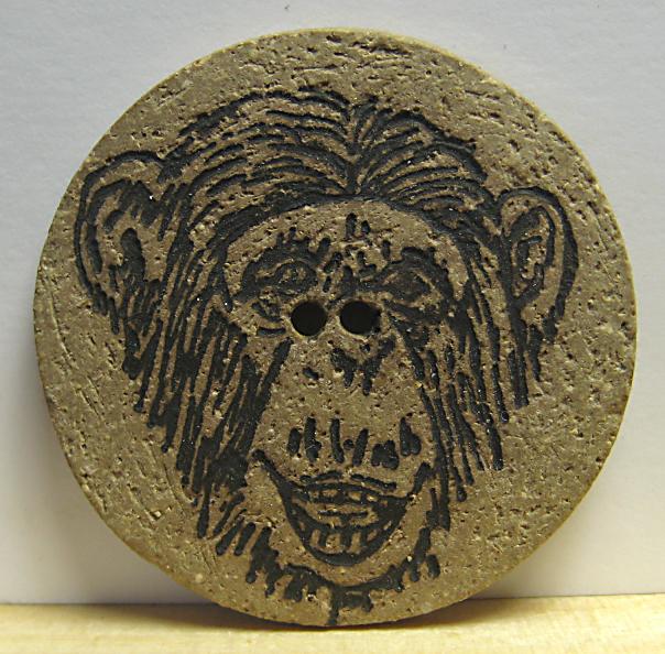 Stoneware Chimpanzee Button by Diana McClure MMF